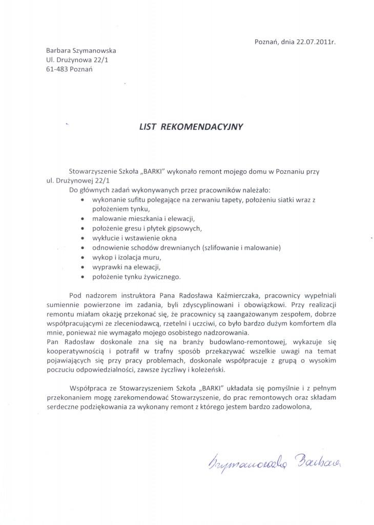 Referencja Barbara Szymanowska