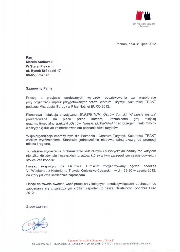 """Referencja Centrum Turystyki Kulturowej """"Trakt"""""""